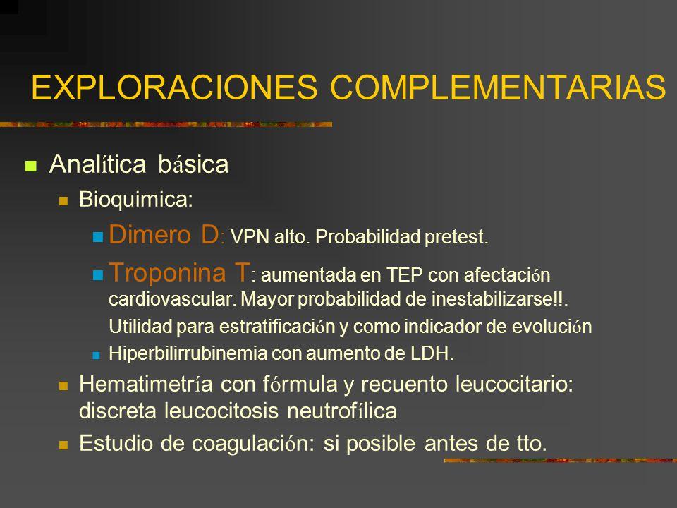 EXPLORACIONES COMPLEMENTARIAS Anal í tica b á sica Bioquimica: Dimero D : VPN alto. Probabilidad pretest. Troponina T : aumentada en TEP con afectaci
