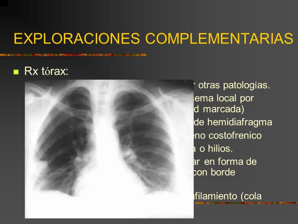 EXPLORACIONES COMPLEMENTARIAS Rx t ó rax: Normal: lo m á s frecuente. Descartar otras patolog í as. Signo de Westermark: á rea de enfisema local por d