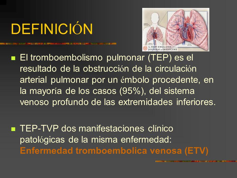 DEFINICI Ó N El tromboembolismo pulmonar (TEP) es el resultado de la obstrucci ó n de la circulaci ó n arterial pulmonar por un é mbolo procedente, en