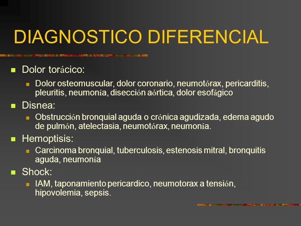 DIAGNOSTICO DIFERENCIAL Dolor tor á cico: Dolor osteomuscular, dolor coronario, neumot ó rax, pericarditis, pleuritis, neumon í a, disecci ó n a ó rti