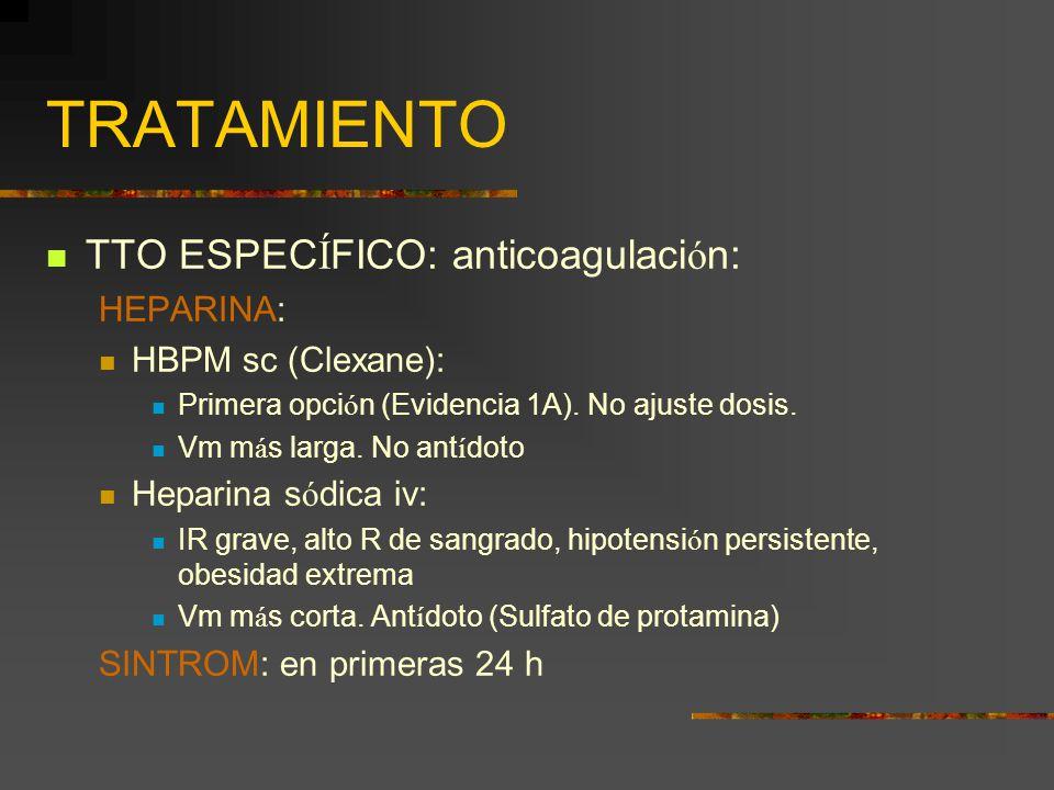 TRATAMIENTO TTO ESPEC Í FICO: anticoagulaci ó n: HEPARINA: HBPM sc (Clexane): Primera opci ó n (Evidencia 1A). No ajuste dosis. Vm m á s larga. No ant
