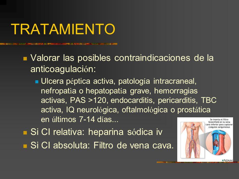 TRATAMIENTO Valorar las posibles contraindicaciones de la anticoagulaci ó n: Ulcera p é ptica activa, patolog í a intracraneal, nefropat ì a o hepatop
