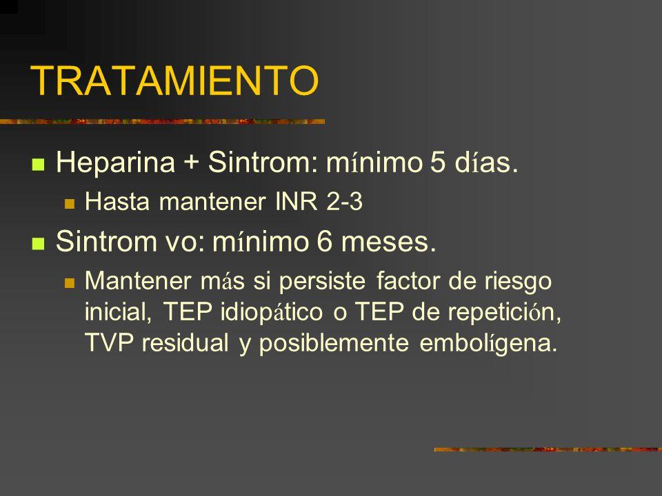 TRATAMIENTO Heparina + Sintrom: m í nimo 5 d í as. Hasta mantener INR 2-3 Sintrom vo: m í nimo 6 meses. Mantener m á s si persiste factor de riesgo in