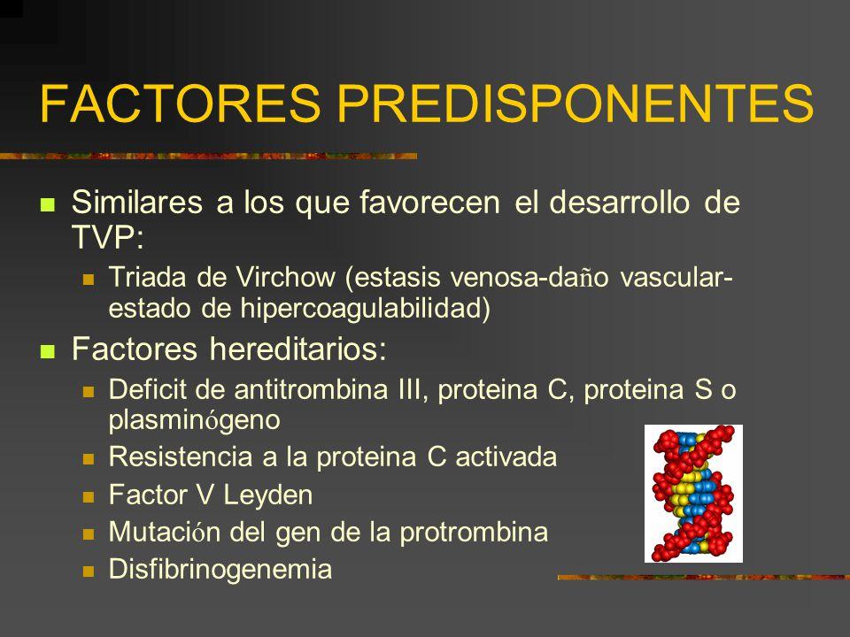 FACTORES PREDISPONENTES Similares a los que favorecen el desarrollo de TVP: Triada de Virchow (estasis venosa-da ñ o vascular- estado de hipercoagulab