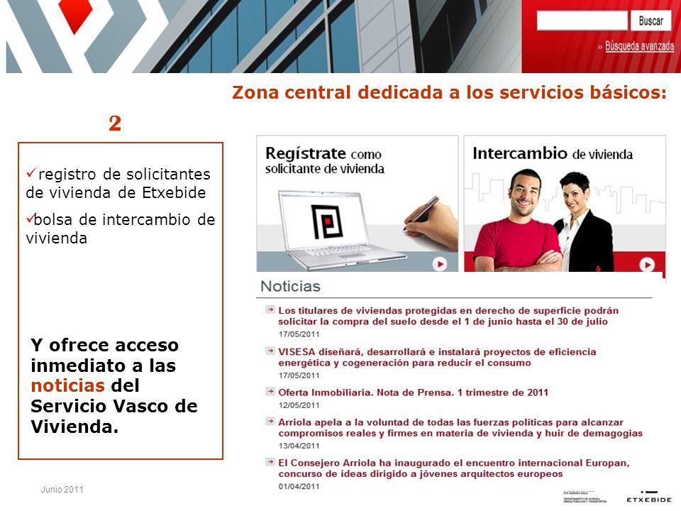 Junio 2011 registro de solicitantes de vivienda de Etxebide bolsa de intercambio de vivienda Y ofrece acceso inmediato a las noticias del Servicio Vas