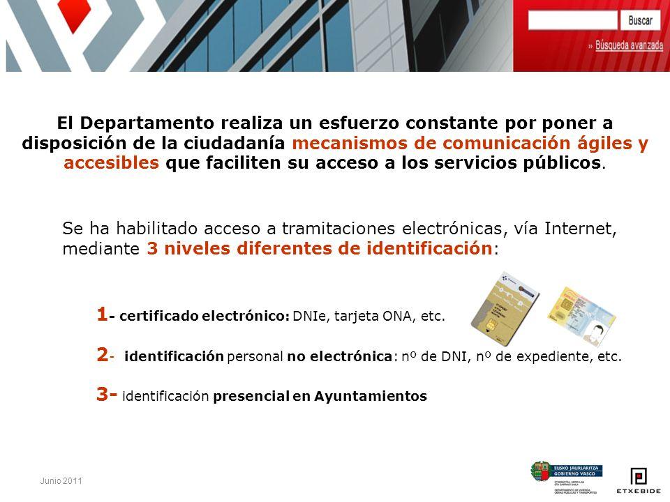 Junio 2011 El Departamento realiza un esfuerzo constante por poner a disposición de la ciudadanía mecanismos de comunicación ágiles y accesibles que f