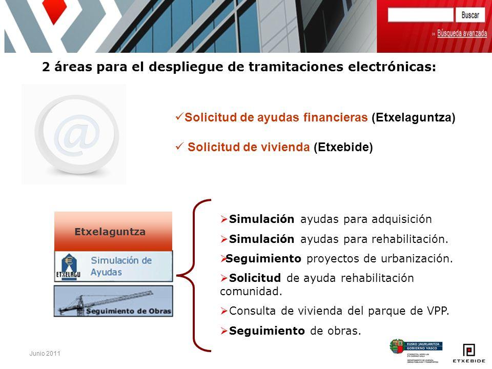 Junio 2011 2 áreas para el despliegue de tramitaciones electrónicas: Simulación ayudas para adquisición Simulación ayudas para rehabilitación. Seguimi