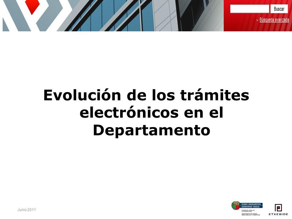 Junio 2011 Evolución de los trámites electrónicos en el Departamento