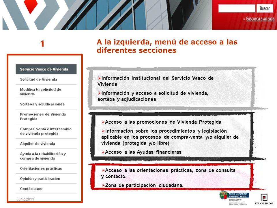 Junio 2011 Información institucional del Servicio Vasco de Vivienda Información y acceso a solicitud de vivienda, sorteos y adjudicaciones Acceso a la