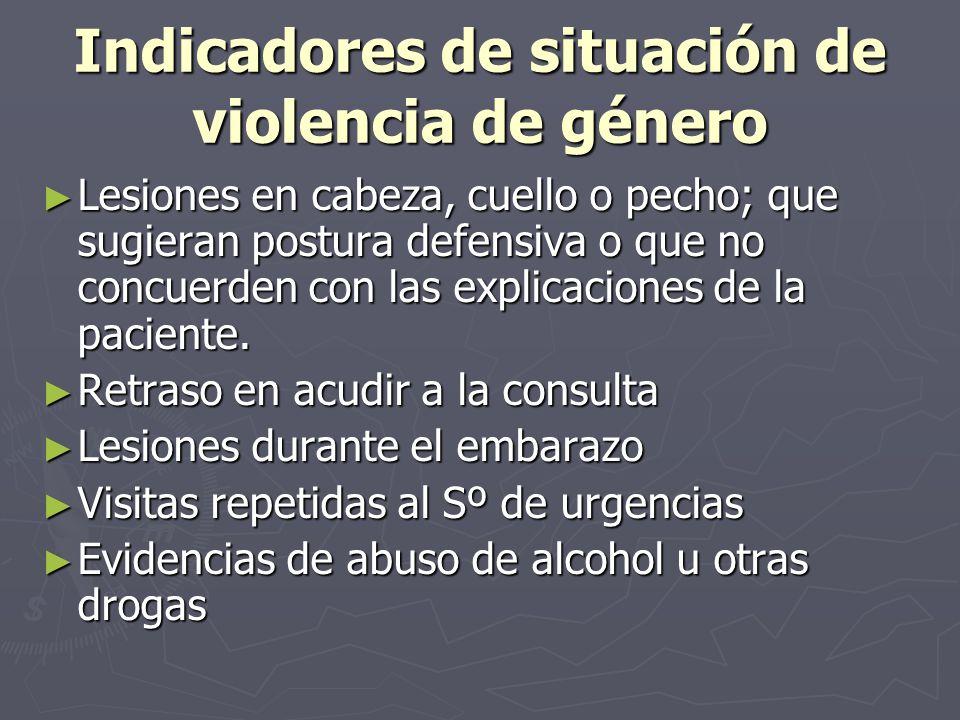 Indicadores de situación de violencia de género Lesiones en cabeza, cuello o pecho; que sugieran postura defensiva o que no concuerden con las explica