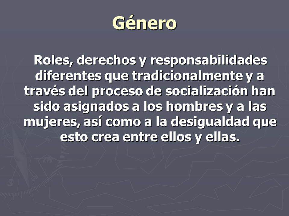 Género Roles, derechos y responsabilidades diferentes que tradicionalmente y a través del proceso de socialización han sido asignados a los hombres y