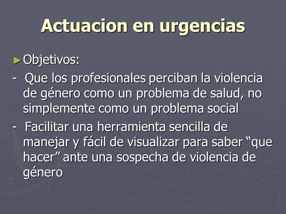 Actuacion en urgencias Objetivos: Objetivos: - Que los profesionales perciban la violencia de género como un problema de salud, no simplemente como un