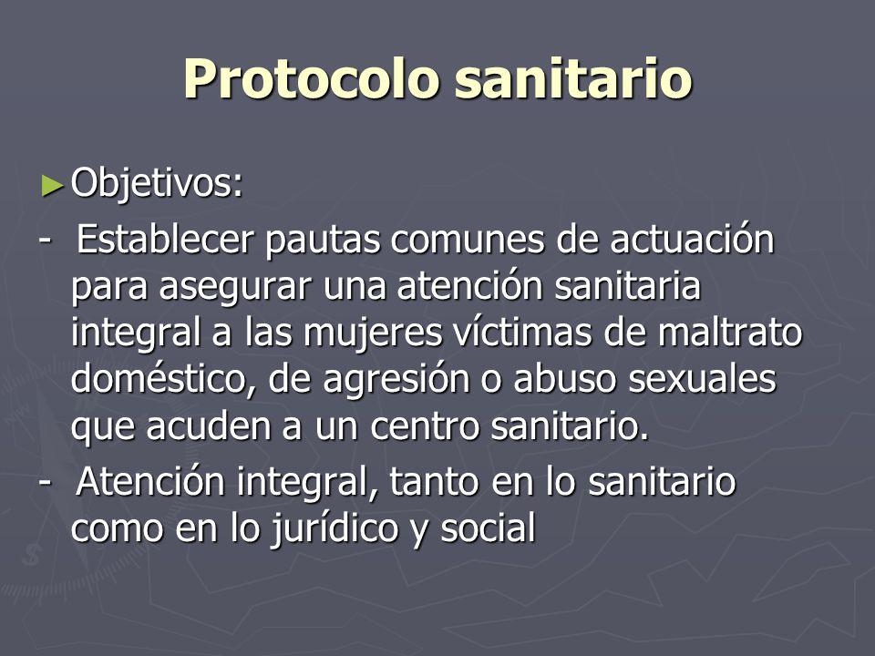 Protocolo sanitario Objetivos: Objetivos: - Establecer pautas comunes de actuación para asegurar una atención sanitaria integral a las mujeres víctima