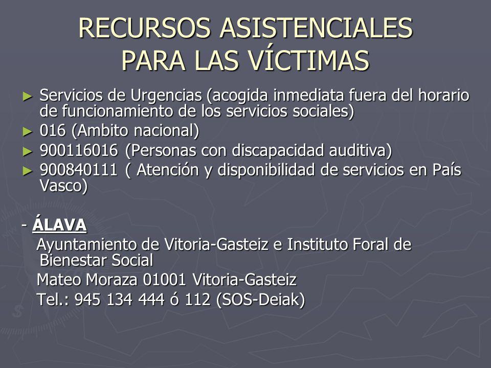 RECURSOS ASISTENCIALES PARA LAS VÍCTIMAS Servicios de Urgencias (acogida inmediata fuera del horario de funcionamiento de los servicios sociales) Serv