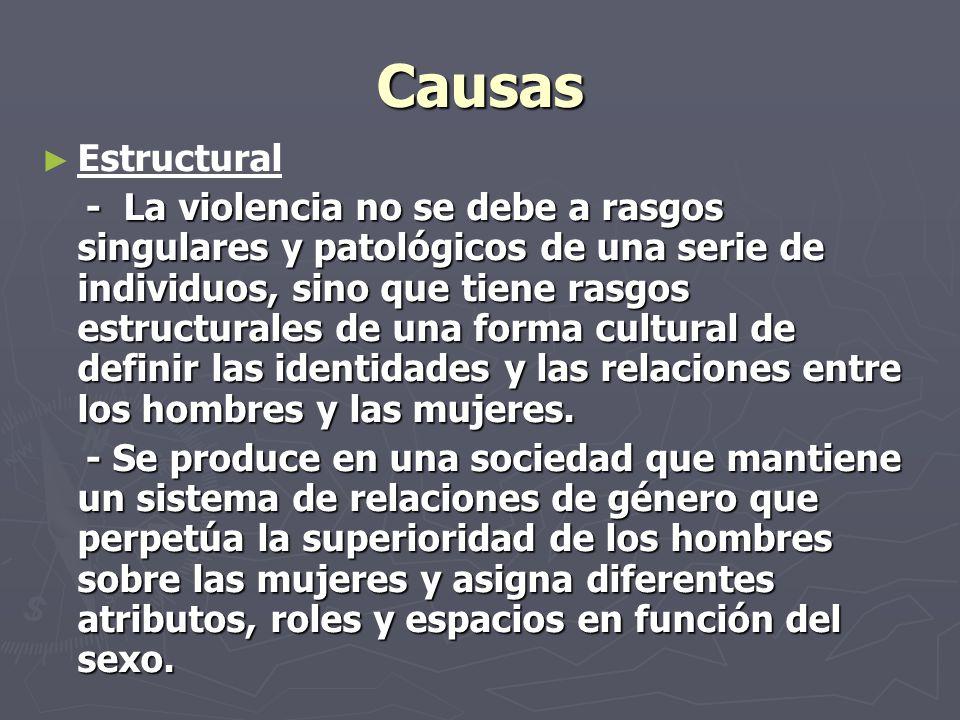 Causas Estructural - La violencia no se debe a rasgos singulares y patológicos de una serie de individuos, sino que tiene rasgos estructurales de una