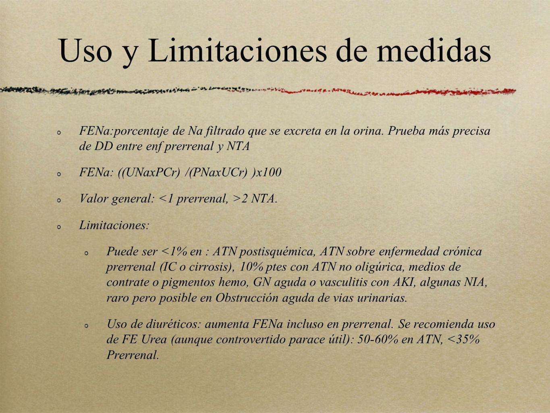 Uso y Limitaciones de medidas FENa:porcentaje de Na filtrado que se excreta en la orina. Prueba más precisa de DD entre enf prerrenal y NTA FENa: ((UN