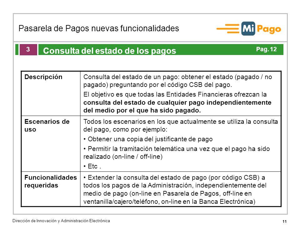 11 Pasarela de Pagos nuevas funcionalidades Dirección de Innovación y Administración Electrónica Agenda de la acción formativa Consulta del estado de