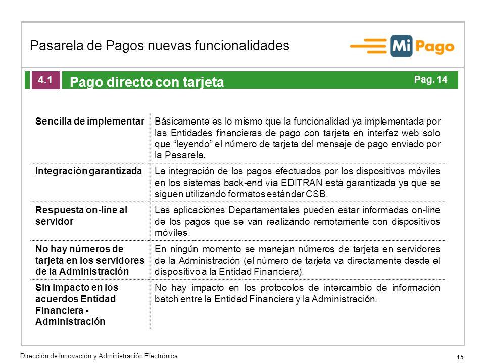 15 Pasarela de Pagos nuevas funcionalidades Dirección de Innovación y Administración Electrónica Agenda de la acción formativa Pago directo con tarjet