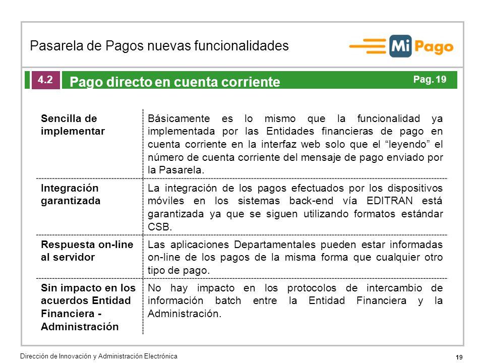 19 Pasarela de Pagos nuevas funcionalidades Dirección de Innovación y Administración Electrónica Agenda de la acción formativa Pago directo en cuenta