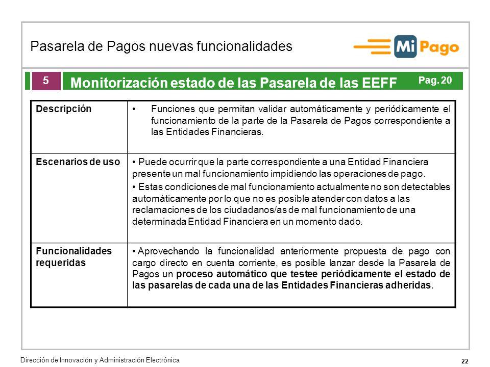 22 Pasarela de Pagos nuevas funcionalidades Dirección de Innovación y Administración Electrónica Agenda de la acción formativa Monitorización estado de las Pasarela de las EEFF 5 DescripciónFunciones que permitan validar automáticamente y periódicamente el funcionamiento de la parte de la Pasarela de Pagos correspondiente a las Entidades Financieras.