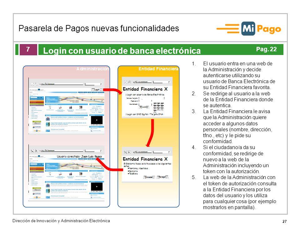 27 Pasarela de Pagos nuevas funcionalidades Dirección de Innovación y Administración Electrónica Agenda de la acción formativa Login con usuario de ba