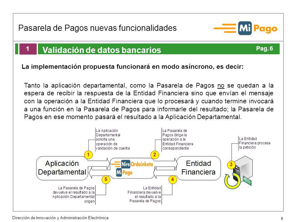 5 Pasarela de Pagos nuevas funcionalidades Dirección de Innovación y Administración Electrónica Agenda de la acción formativa Validación de datos banc