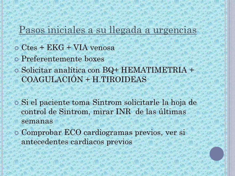 Pasos iniciales a su llegada a urgencias Ctes + EKG + VIA venosa Preferentemente boxes Solicitar analítica con BQ+ HEMATIMETRIA + COAGULACIÓN + H.TIRO