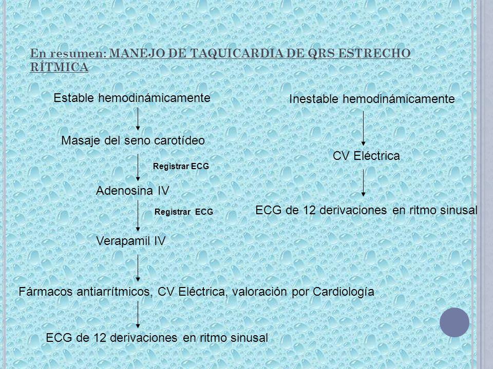 En resumen: MANEJO DE TAQUICARDIA DE QRS ESTRECHO RÍTMICA Estable hemodinámicamente Inestable hemodinámicamente CV Eléctrica Masaje del seno carotídeo