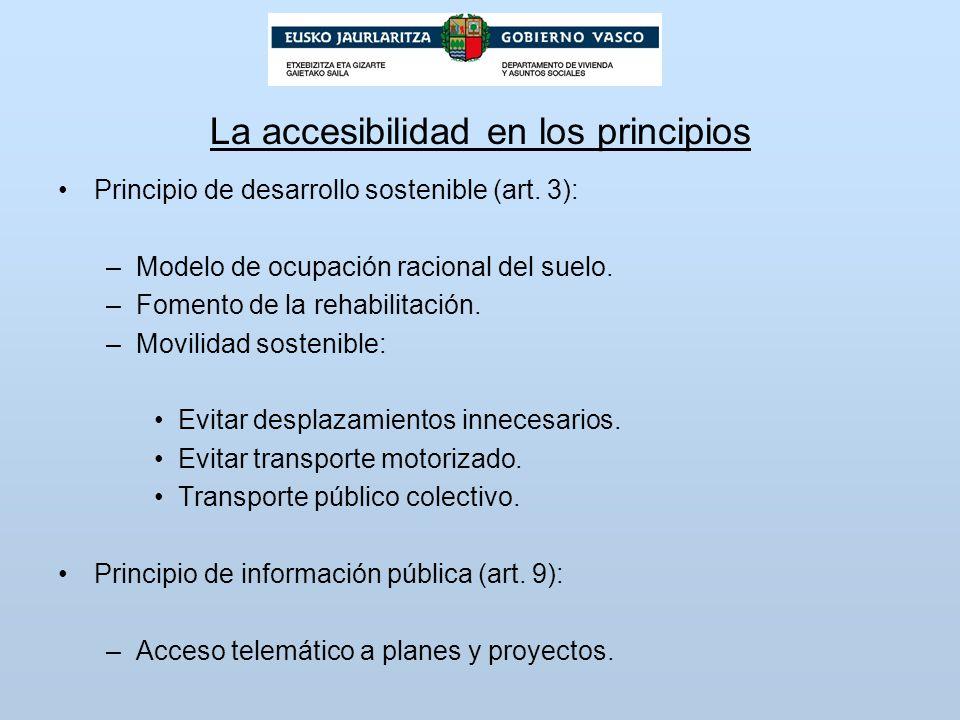 La accesibilidad en los principios Principio de desarrollo sostenible (art. 3): –Modelo de ocupación racional del suelo. –Fomento de la rehabilitación