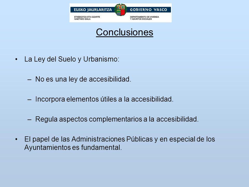 Conclusiones La Ley del Suelo y Urbanismo: –No es una ley de accesibilidad. –Incorpora elementos útiles a la accesibilidad. –Regula aspectos complemen