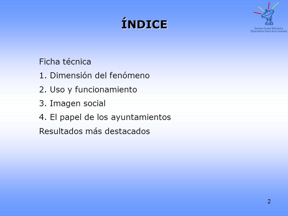 2 Ficha técnica1. Dimensión del fenómeno 2. Uso y funcionamiento 3. Imagen social 4. El papel de los ayuntamientos Resultados más destacados ÍNDICE