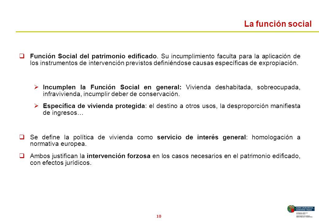10 La función social Función Social del patrimonio edificado. Su incumplimiento faculta para la aplicación de los instrumentos de intervención previst