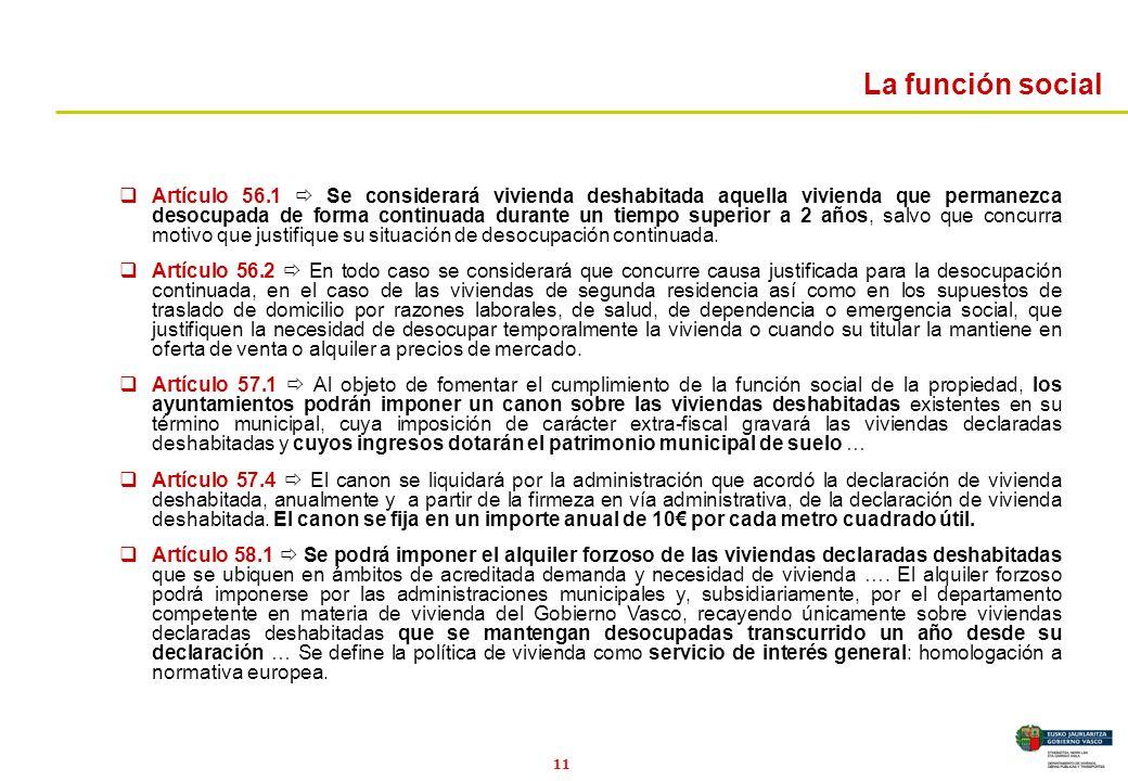 11 La función social Artículo 56.1 Se considerará vivienda deshabitada aquella vivienda que permanezca desocupada de forma continuada durante un tiemp