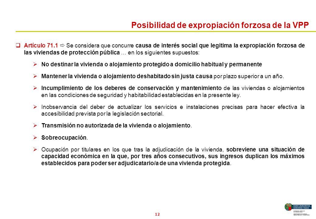 12 Artículo 71.1 Se considera que concurre causa de interés social que legitima la expropiación forzosa de las viviendas de protección pública … en lo