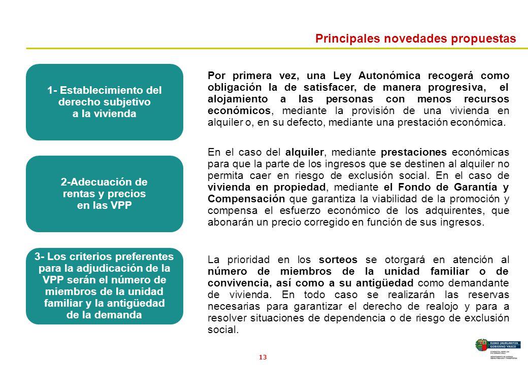 13 Principales novedades propuestas Por primera vez, una Ley Autonómica recogerá como obligación la de satisfacer, de manera progresiva, el alojamient