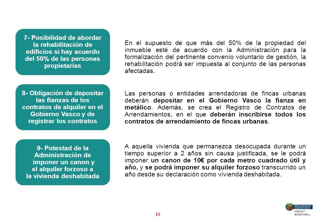 15 En el supuesto de que más del 50% de la propiedad del inmueble esté de acuerdo con la Administración para la formalización del pertinente convenio