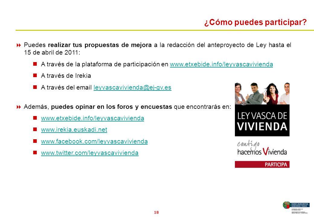 18 Puedes realizar tus propuestas de mejora a la redacción del anteproyecto de Ley hasta el 15 de abril de 2011: A través de la plataforma de particip
