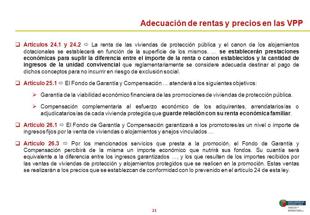 21 Artículos 24.1 y 24.2 La renta de las viviendas de protección pública y el canon de los alojamientos dotacionales se establecerá en función de la s