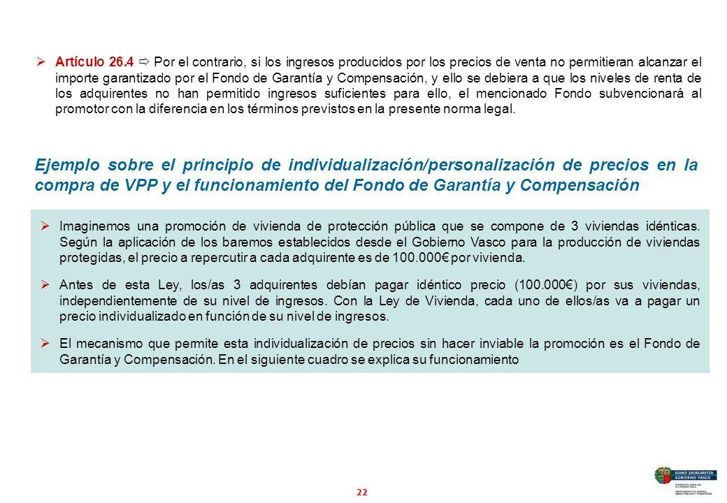 22 Artículo 26.4 Por el contrario, si los ingresos producidos por los precios de venta no permitieran alcanzar el importe garantizado por el Fondo de