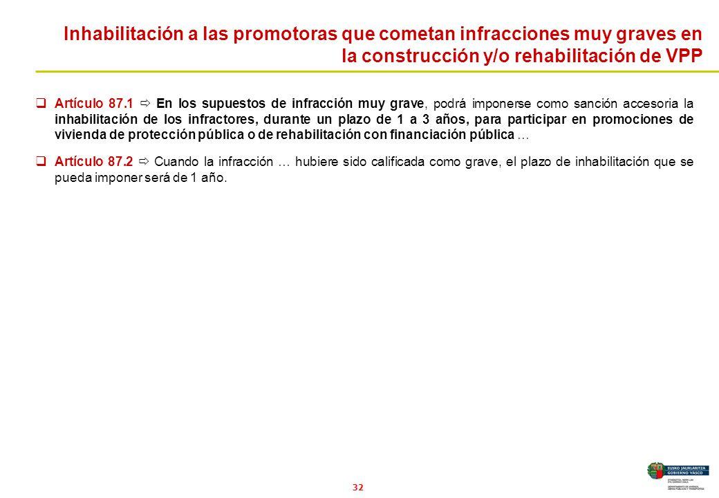 32 Artículo 87.1 En los supuestos de infracción muy grave, podrá imponerse como sanción accesoria la inhabilitación de los infractores, durante un pla