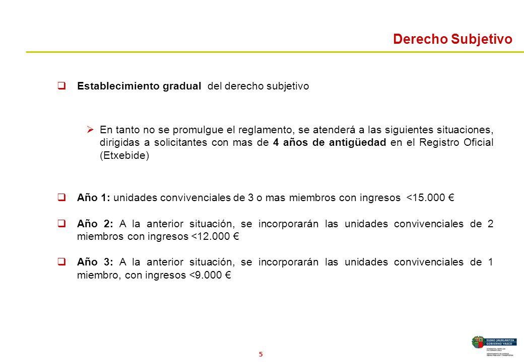 5 Derecho Subjetivo Establecimiento gradual del derecho subjetivo En tanto no se promulgue el reglamento, se atenderá a las siguientes situaciones, di