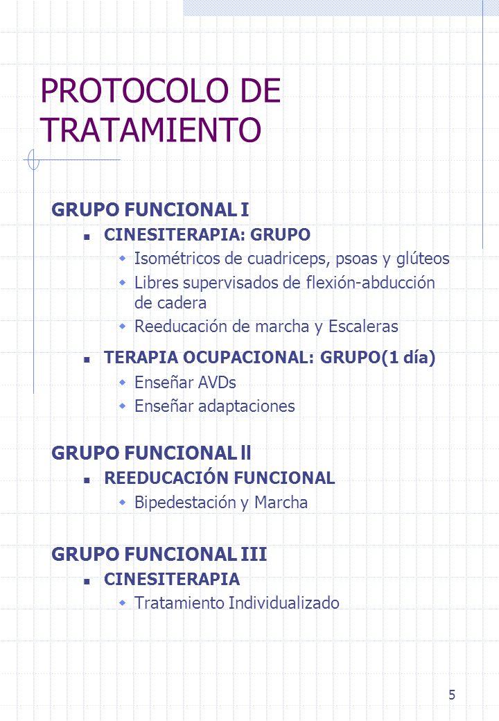 5 PROTOCOLO DE TRATAMIENTO GRUPO FUNCIONAL I CINESITERAPIA: GRUPO Isométricos de cuadriceps, psoas y glúteos Libres supervisados de flexión-abducción
