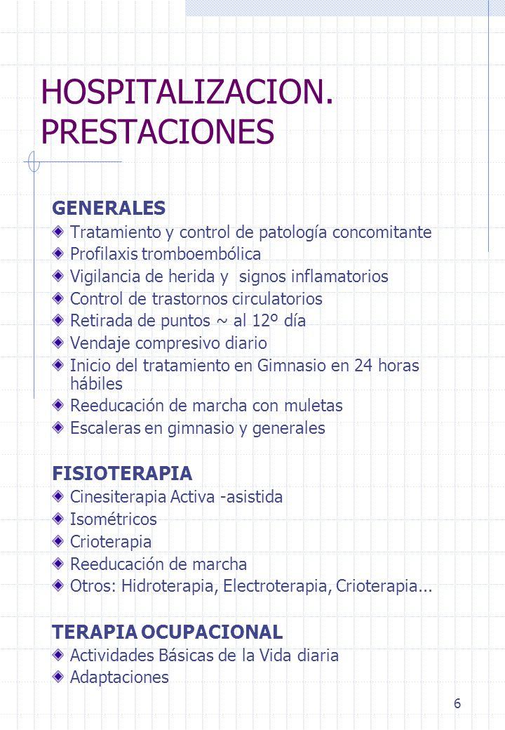 6 HOSPITALIZACION. PRESTACIONES GENERALES Tratamiento y control de patología concomitante Profilaxis tromboembólica Vigilancia de herida y signos infl