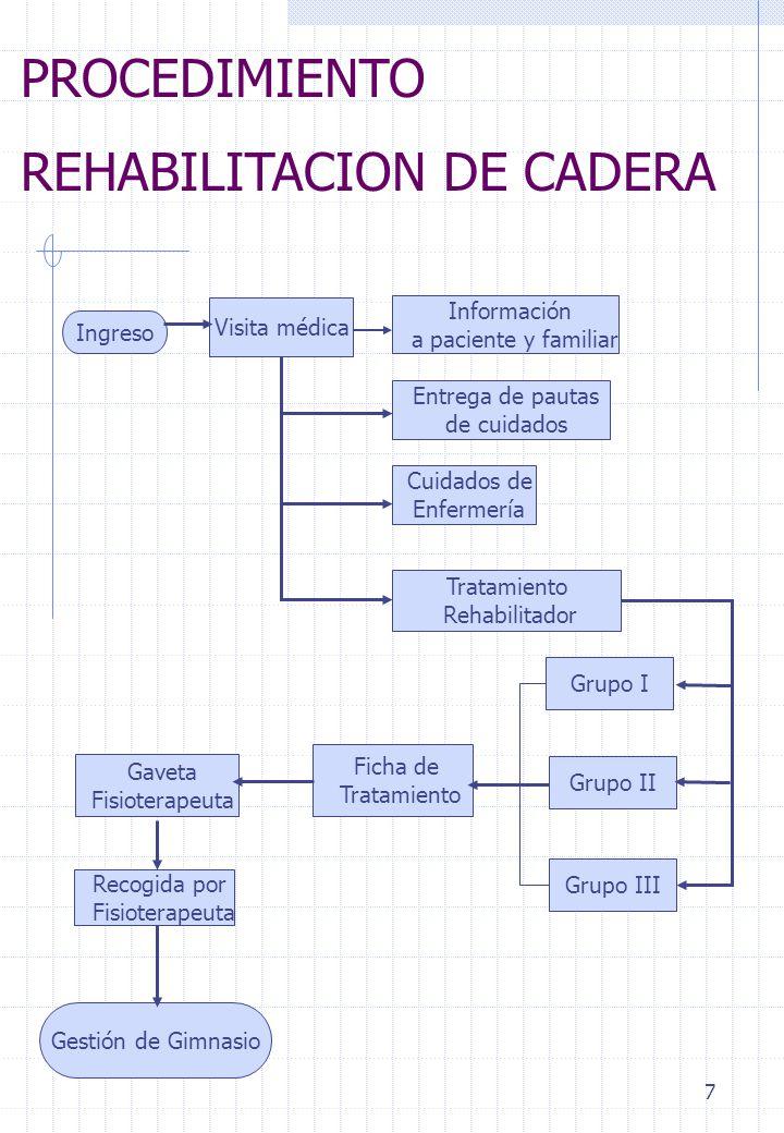 7 PROCEDIMIENTO REHABILITACION DE CADERA Ingreso Visita médica Información a paciente y familiar Cuidados de Enfermería Entrega de pautas de cuidados