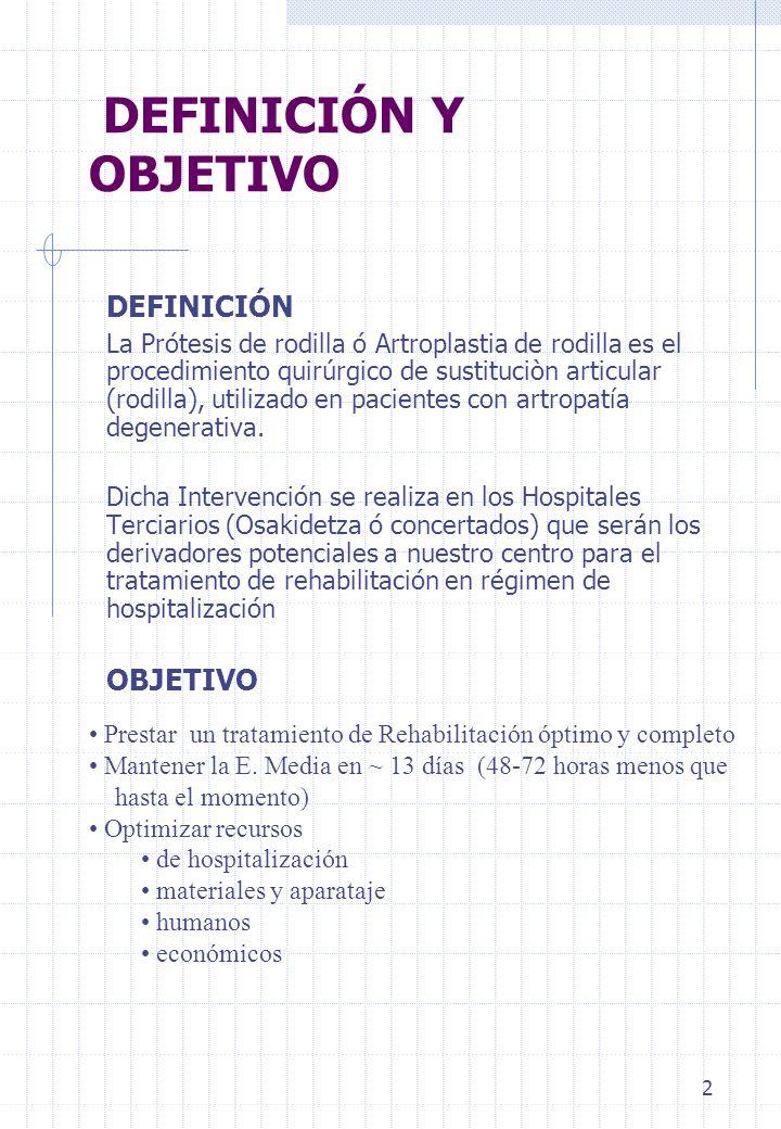 2 DEFINICIÓN Y OBJETIVO DEFINICIÓN La Prótesis de rodilla ó Artroplastia de rodilla es el procedimiento quirúrgico de sustituciòn articular (rodilla),