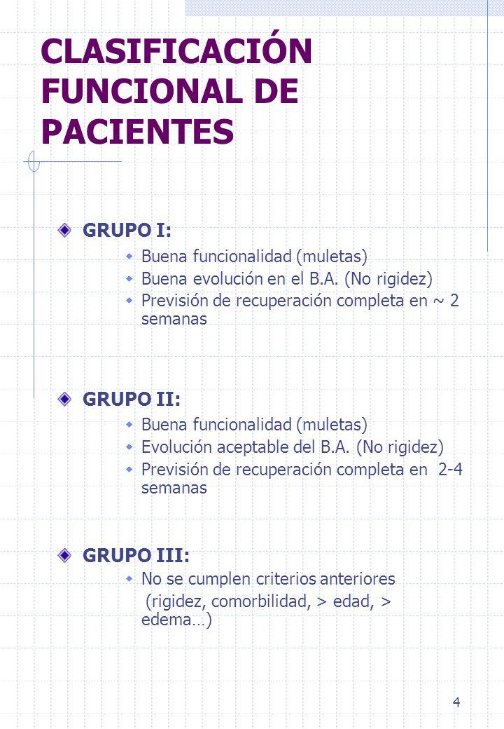 4 CLASIFICACIÓN FUNCIONAL DE PACIENTES GRUPO I: Buena funcionalidad (muletas) Buena evolución en el B.A. (No rigidez) Previsión de recuperación comple