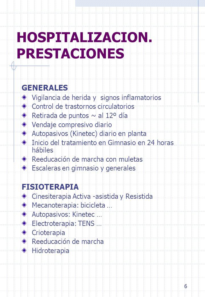 6 HOSPITALIZACION. PRESTACIONES GENERALES Vigilancia de herida y signos inflamatorios Control de trastornos circulatorios Retirada de puntos ~ al 12º