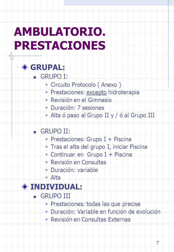 7 AMBULATORIO. PRESTACIONES GRUPAL: GRUPO I: Circuito Protocolo ( Anexo ) Prestaciones: excepto hidroterapia Revisión en el Gimnasio Duración: 7 sesio