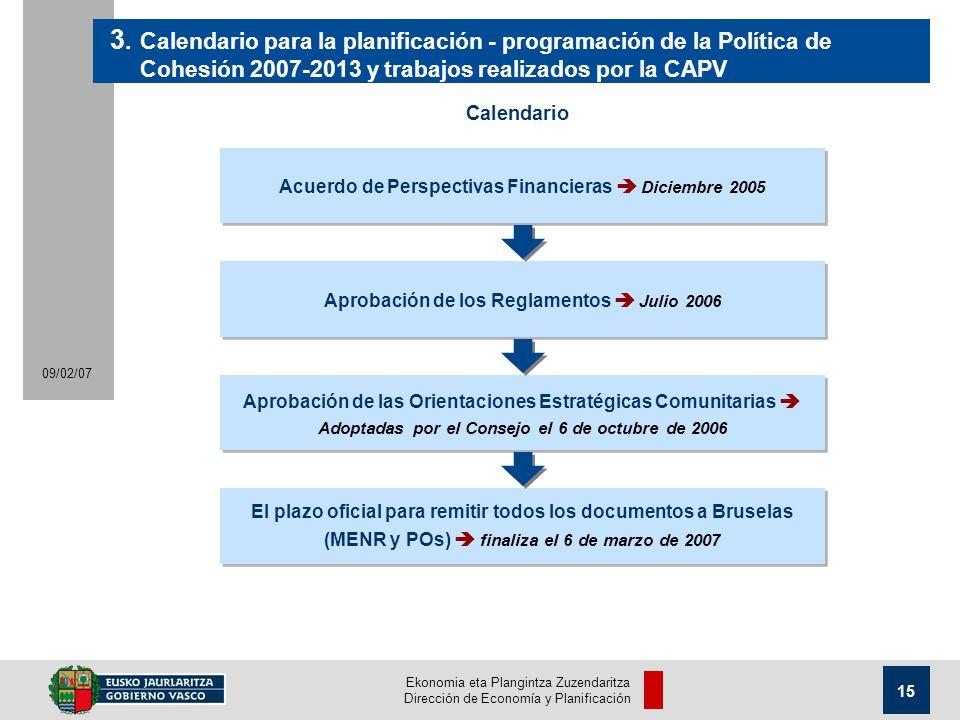 Ekonomia eta Plangintza Zuzendaritza Dirección de Economía y Planificación 15 09/02/07 Acuerdo de Perspectivas Financieras Diciembre 2005 3.