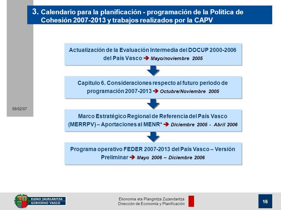 Ekonomia eta Plangintza Zuzendaritza Dirección de Economía y Planificación 16 09/02/07 Actualización de la Evaluación Intermedia del DOCUP 2000-2006 del País Vasco Mayo/noviembre 2005 3.